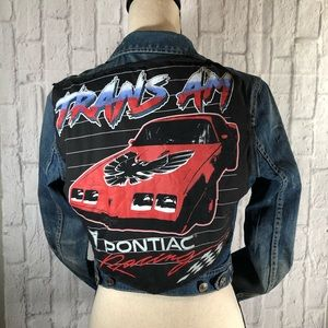 H&M Custom Vintage Racing Crop Denim Jean Jacket